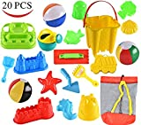 Joyin Toy 20 Pieces Beach Sand Toys Set in Zippered Bag With Reusable Easy to Pack Mesh Backpack