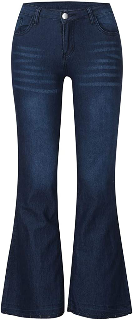 Handyulong Plus Size Womens Jeans Bootcut Tummy Control Hight Waisted Stretchy Denim Jeans Bell Bottom Pants Sweatpants