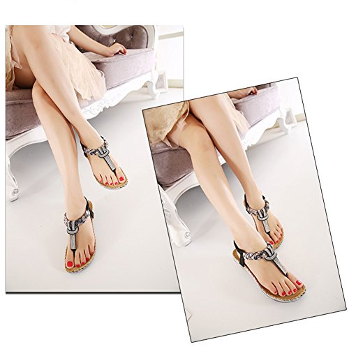Fresco Siketu Nuevo Rhinestone Flats Mujeres Sandalias Negro Sandalias Fresco Stil Verano Böhmen Zapato Frtfr