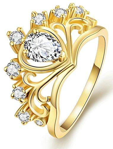 Lord Of The Rings Crown (Anazoz 18K Gold Plated Women Teardrop Zirconia Crown Rings Women Size 5.5)