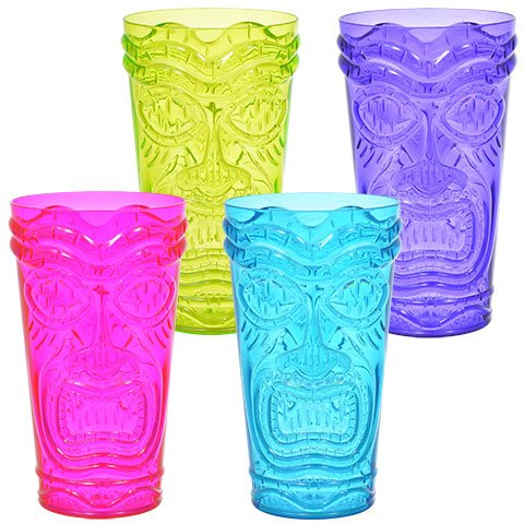 (Colorful Plastic Tiki Tumblers, 20 oz. Set of 4)