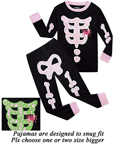 Dolphin&Fish Girls Halloween Pajamas Kids Pjs Skeleton Glow-in-The-Dark Toddler Halloween Clothes Size 4T