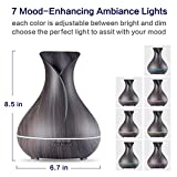 Aroma Essential Oil Diffuser,OliveTech 400ml Ultrasonic Cool Mist Humidifier with Color LED Lights Changing for Home, Yoga, Office, Spa, Bedroom, Baby Room - Wood Grain