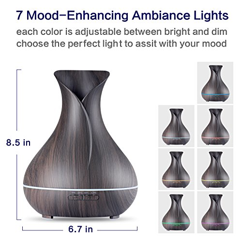 OliveTech Aroma Essential Oil Diffuser, 400ml Ultrasonic Cool Mist Humidifier with Color LED Lights Changing for Home, Yoga, Office, Spa, Bedroom, Baby Room - Wood Grain by OliveTech (Image #1)