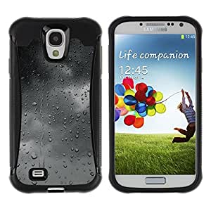 Fuerte Suave TPU GEL Caso Carcasa de Protección Funda para Samsung Galaxy S4 I9500 / Business Style Gray Grey Mood Clouds Window Fall