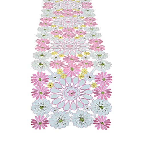 Simhomsen Embroidered Pink Floral Table Runners, Spring Table Decorations, Dresser Scarves (14 × 52 Inch)]()