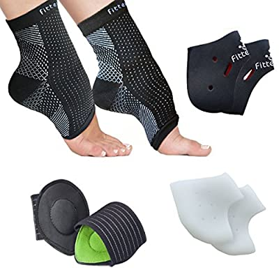 Foot Sleeve (1 Pair), Plantar Fasciitis Silicone Gel Heel Protectors (1 Pair), Arch Support Therapy Wrap (1 Pair) & Cushioned Arch Support (1 Pair) - Accelerated Recovery (Pack of 8)