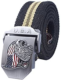 "<span class=""a-offscreen"">[Sponsored]</span>Men's Adjustable Canvas Belt Metal Buckle Military Style 52""38mm"