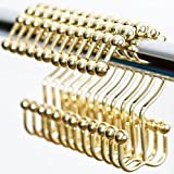 nikkouware Easy Install Rustproof Gold Shower Curtain Hooks - Frictionless Stainless Steel Metal - Double Glide Shower Rings for Bathroom Curtains and Liner Rods - Polished Brass - Set of 12 Hooks