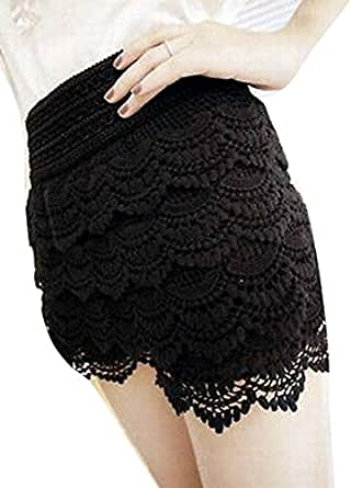 Sexy Mini Lace Tiered Skirts Under Safety Pants Short Shorts Skorts - Black