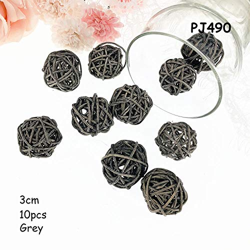 Miao Express 10pcs/lot 3cm Halloween Decoration Rattan Ball Birthday Party Decor Rattan Wicker Balls Baby Shower Wedding Table Decoration,PJ490 Grey]()