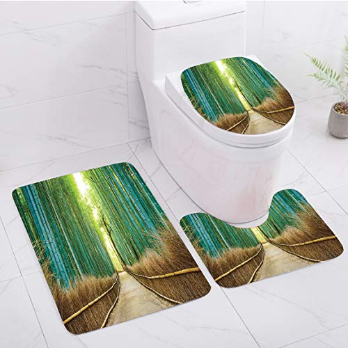 3-Piece Bath mat Set with Short Plush Soft and Non-Slip, Pattern Description - Bamboo Forest in Japan,Panoramic View of Historic Landscape Park Decorative,