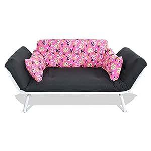 American Furniture Alliance Modern Loft Collection Futon Mali Flex Combo, Pink and Black Stars and Bones