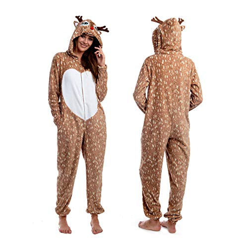 Body Candy Womens Soft and Cuddly Printed Hoodie Plush Onesie Critters, REINDEER, Brown - Large ()