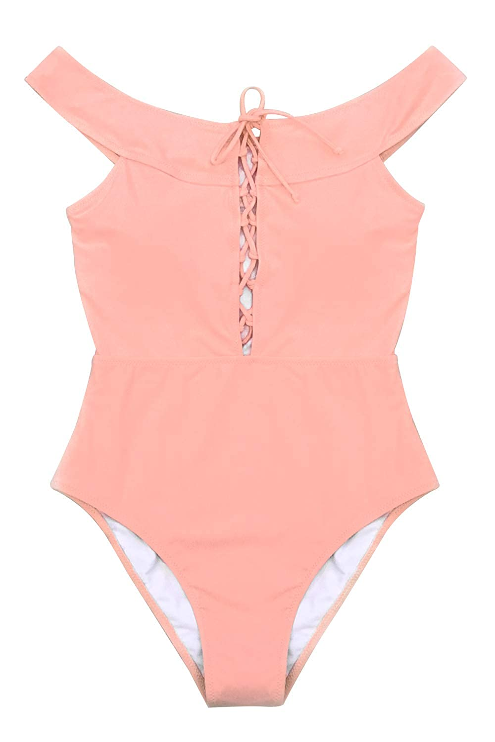 05835a7ab3634 CUPSHE Women's Peach Pink Solid Lace Up One Piece Swimsuit at Amazon  Women's Clothing store:
