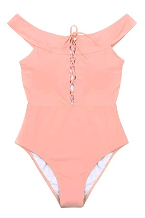 bb3ba871521 CUPSHE Women's Peach Pink Solid Lace Up One Piece Swimsuit at Amazon ...