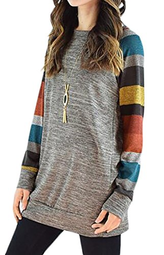 T Sleeve Crewneck Block Long Gray Womens Tops Dress Shirts Cromoncent Color Casual xq8AS8wH