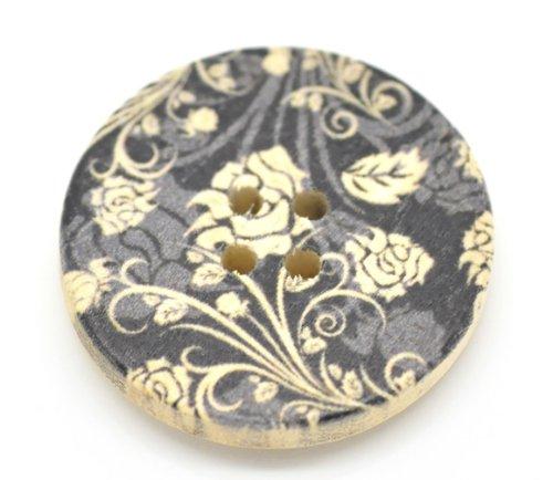10 x bottoni in legno con motivo floreale XXL