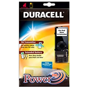 Duracell PowerFM FM Transmitter, Extended Battery, and Silicone Case for iPod nano 2G