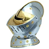 Fully Functional Battle Ready Golden Knight Polished Steel Replica Jousting Helmet Costume LARP