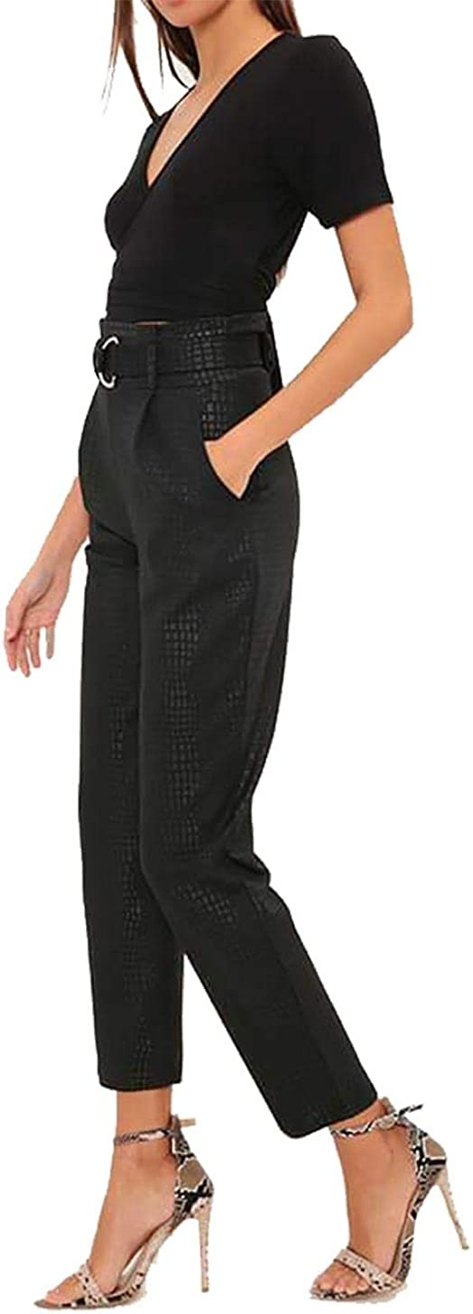 Womens Crocodile Print Tapered Belted Trouser Ladies Fancy Party Wear Pants