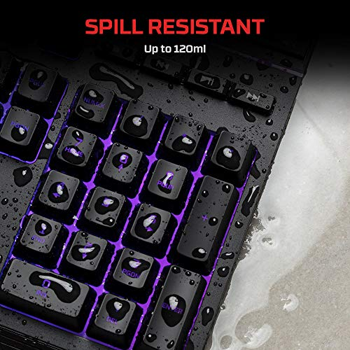 HyperX Alloy Core RGB - Membrane Gaming Keyboard - Comfortable Quiet Silent  Keys with RGB LED Lighting Effects, Spill Resistant, Dedicated Media Keys,