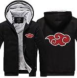 Poetic Walk Naruto Akatsuki Itachi Red Cloud Printed Cosplay Winter Jacket Coat (X-Large, Black)