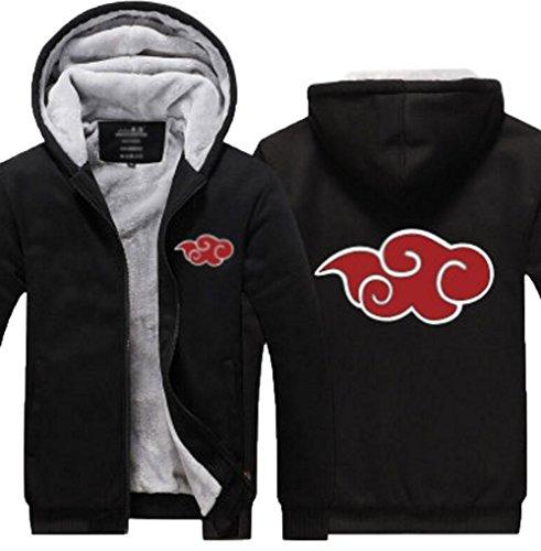 - Poetic Walk Naruto Akatsuki Itachi Red Cloud Printed Cosplay Winter Jacket Coat (XXX-Large, Black)