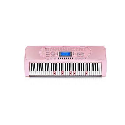 AmtSkr Teclado Infantil, Piano Electrónico Principiantes Empezando Chicas 61-Key Piano Adulto Profesional Multifunción Hogar Piano Regalos B Rosa: Juguetes y juegos
