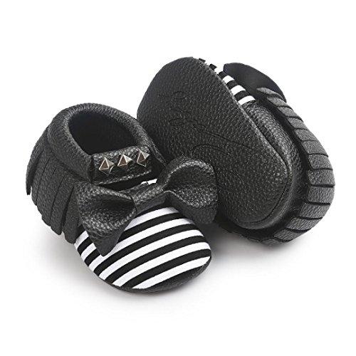 Tefamore Zapatos Bebé Zapatillas de deporte del remache de la Raya del Bowknot del Suave únicas niños Negro 2