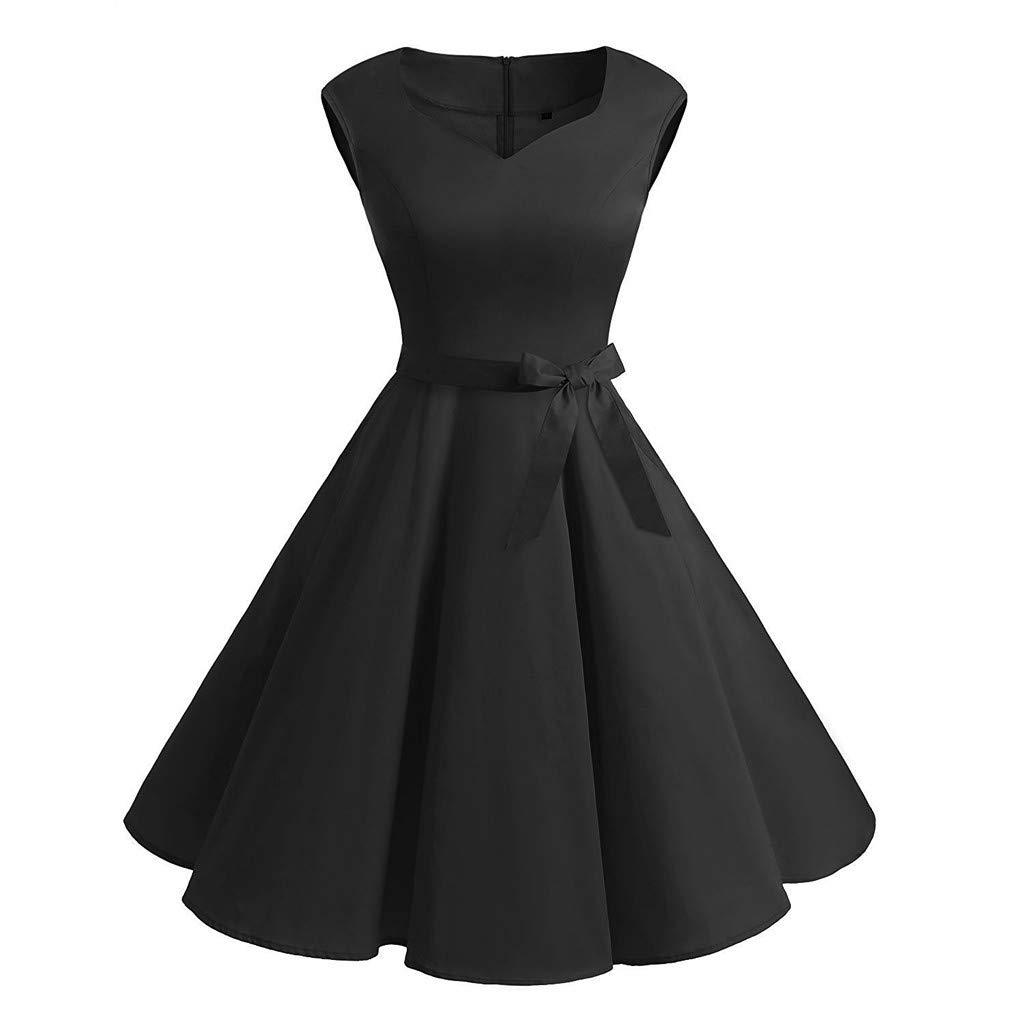 Womens Dress Fashion Sleeveless Vintage Solid Bow V-Neck Retro Ball Gown Dress