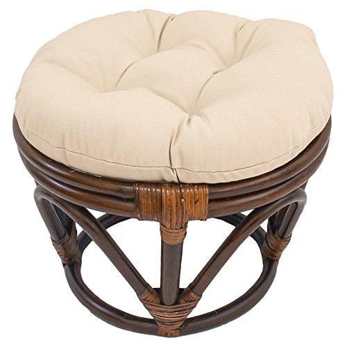 International Caravan 3301-TW-GP-IC Furniture Piece Rattan Footstool with Twill (Papasan Footstool)
