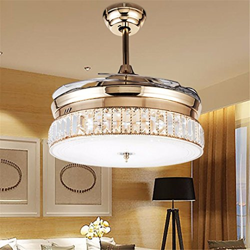 Retractable Crystal Ceiling Fans Light with Remote Control 4-Blade Invisible Ceiling Fan Chandelier Art Decoration 36 inch (Rose Gold)