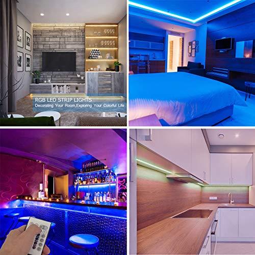 Strisce LED 5m Aogled,kit cambio colore LED RGB 5050 con telecomando a 24 pulsanti,strisce luminose d'atmosfera a LED per la decorazione di interni ed esterni