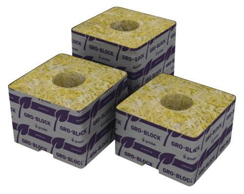 Grodan Delta 10 Block 4 by 4 by 4 Inch with Hole, Case of 144 Blocks