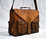 Leather Native 15'' New Men's Genuine Vintage Brown Leather Messenger Shoulder Laptop Bag Briefcase