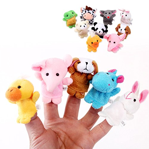 GTNINE Cute Animal Toy Cartoon Style Finger Puppets Story for Kids Children, Shows, Playtime, Schools - 10 Animals Set Crocheted Finger Puppets