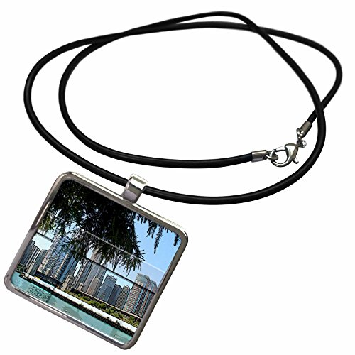 3dRose Jos Fauxtographee Realistic - The City Scape in Canada from The Waters Edge with a Tree Framing The Shot - Necklace With Rectangle Pendant - Water Trees Framing