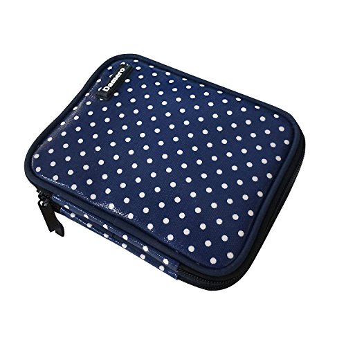 Damero Crochet Hook Case, Travel Storage Bag for Various Crochet Needles and Accessories, Lightweight and Compact, Easy to Carry, Blue Dots(No Accessories Included)-New Version