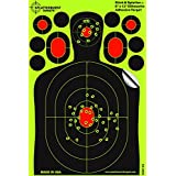 """25 Pack - 8""""x12"""" Mini Silhouette """"Stick & Splatter"""" - Adhesive SPLATTERBURST Shooting Targets - Instantly See Your Shots Burst Bright Fluorescent Yellow Upon Impact - Great for all firearms, rifles, pistols, AirSoft, BB and Pellet guns!"""