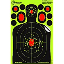 "25 Pack - 8""x12"" Mini Silhouette ""Stick & Splatter"" - Adhesive SPLATTERBURST Shooting Targets - Instantly See Your Shots Burst Bright Fluorescent Yellow Upon Impact - Great for all firearms, rifles, pistols, AirSoft, BB and Pellet guns!"