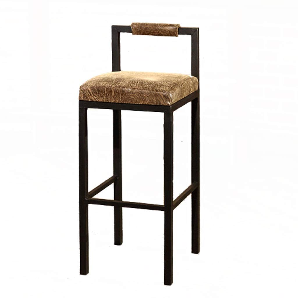 Brown 65CM TXXM Barstools [Iron] Simple bar Stool bar high stools Home Wrought Iron Cafe Solid Wood Strip Table (color   Brown, Size   65CM)
