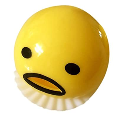 B&Y Yellow Round Vomiting & Sucking Lazy Egg Yolk Vent Stress Tricky Game Relief Toys: Toys & Games