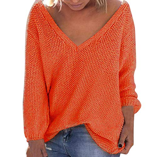 Sunhusing Women's Fall Winter Loose Long Sleeves Deep-V Neck Knitwear Sweater Pullover Blouse Orange