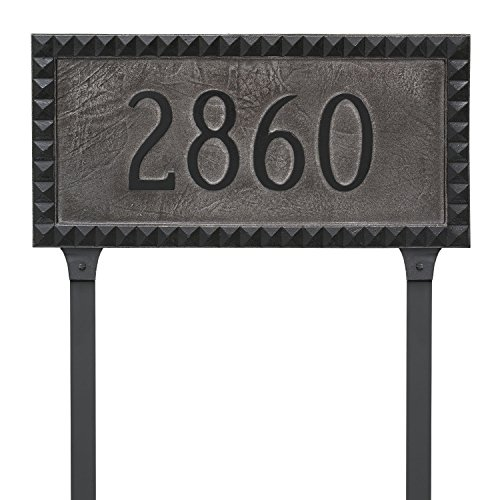 Montague Metal PCS-0071S1-L-SIB Cairo Rectangle One Line Address Sign Plaque with Lawn Stake, 8.5