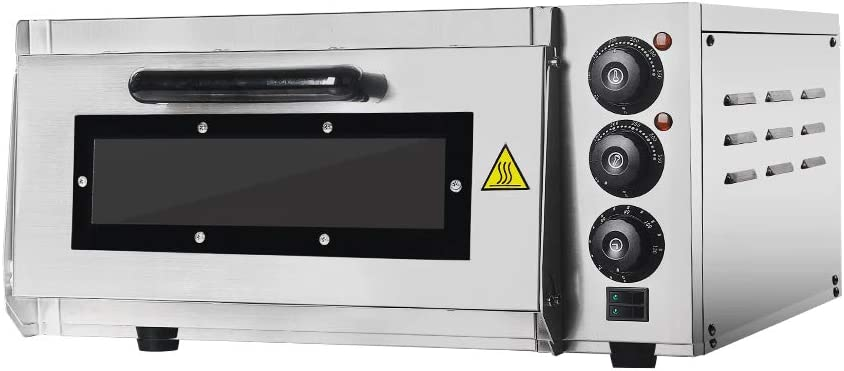 Professional Pizza Oven with 400 x 400 mm Ladrillos refractarios Back Surface, Gastro Horno de piedra for Pizza, Bread And Pastry, 2000 W, la temperatura del Horno puede hasta 350 °C ajustarse