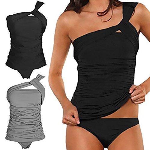 41e4e9b15d good Memory baby Women's One Shoulder Tankini Tummy Control Two Piece  Swimsuit Ruched Swimwear
