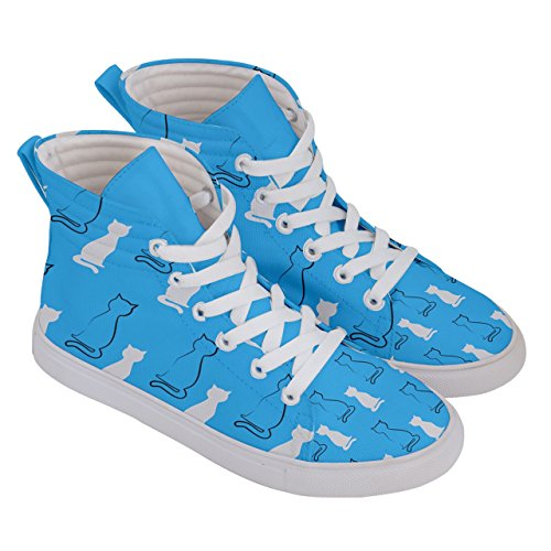 CowCow Womens Fashion Hi Top Skate Sneakers Funny Full Cat Face Themes, Sizes: US5- US10.5 Deep sky blue