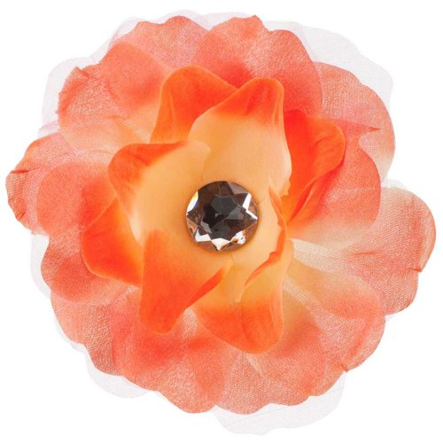 - Lisianthus Flower Hair Clip with Lace - Orange OSFM