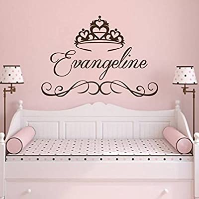 Wall Decal Personalized Girl Name Vinyl Sticker Decals Custom Name Princess Crown Nursery Wall Decor Kids Room Childrens Bedroom NS1028: Toys & Games